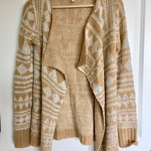 Sweaters - Tan sequined and silver metallic cardigan S EUC
